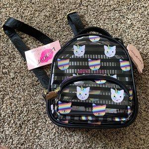NWT betsey Johnson mini backpack.Rainbow cats